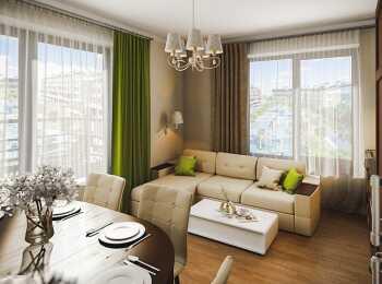 Пример отделки гостиной-столовой